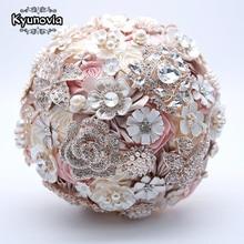 Kyunovia Silk Wedding Flowers Rhinestone Jewelry Blush Pink Brooch Bouquet Gold Broach Bridal Wedding Dress Wedding Bouquet FE93