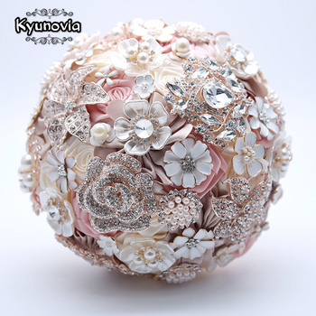 Kyunovia Silk Wedding Flowers Rhinestone Jewelry Blush Pink Brooch Bouquet Gold Broach Bridal Dress FE93 - discount item  51% OFF Wedding Accessories