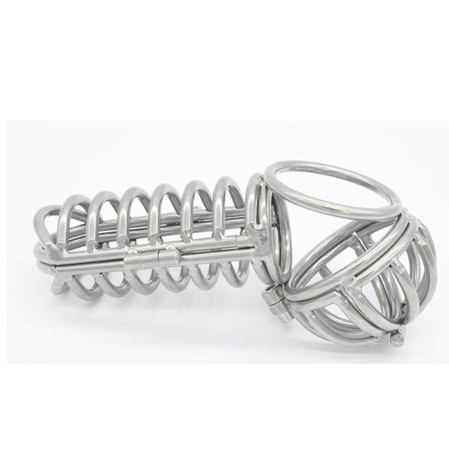2016 El Más Nuevo de acero inoxidable castidad masculina jaula device escroto camilla pelota jaulas de metal anillo del martillo del pene juguetes sexuales para hombres