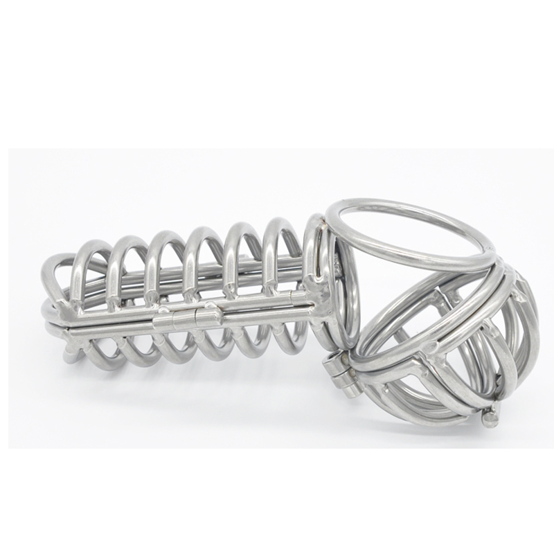 2018 Newest stainless steel male chastity device cage scrotum ball stretcher metal cock ring penis cages sex toys men