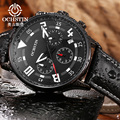OCHSTIN Luxury Brand Mens Quartz Watches Mens Three Dial Date Chronograph Waterproof 30m Outdoor Sport Leather Luminous Watches