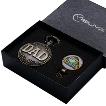 Antique Bronze Dad Quartz Pocket Watch Necklace Pendant Classical Retro Full Hunter Fob Chain Father's Day Gift Set + Watch Box