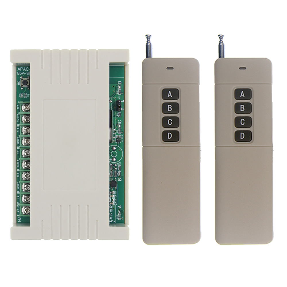 3000m Wide Range High Power 30A Relay AC 85-265V 110V 220V 4 CH 4CH Wireless RF Remote Control Switch Transmitter & Receiver