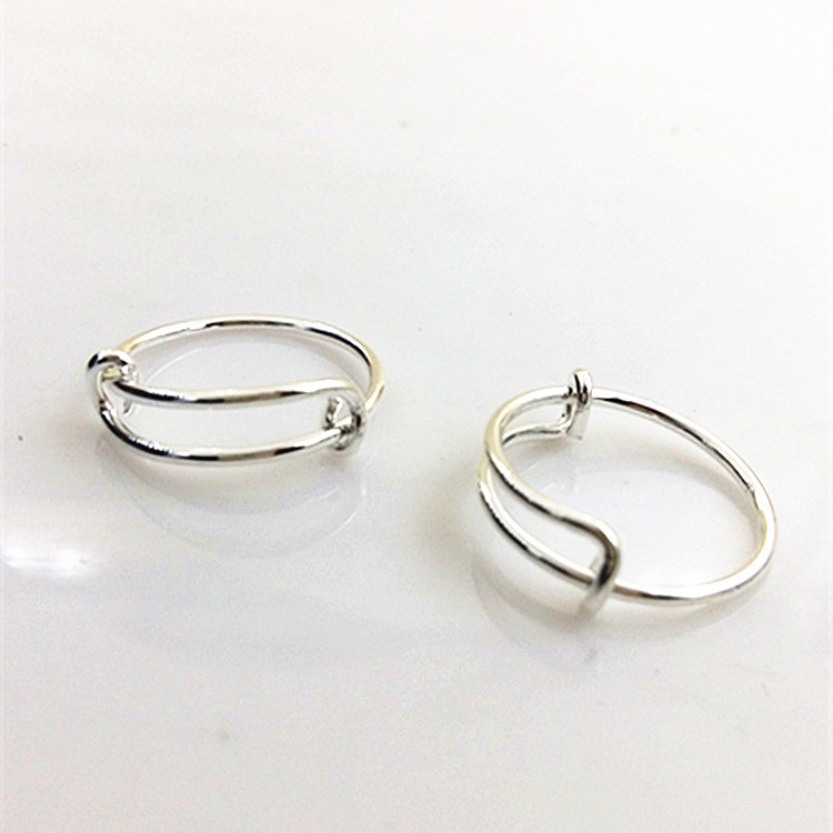 (12pcs) Wholesale Handmade Simple Wire Expandable Rings for Women and Men Silver Adjustable