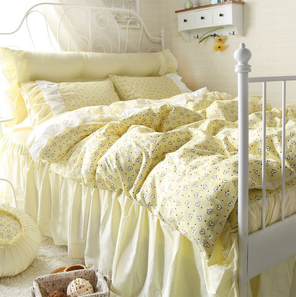 Yellow and grey bedding twin - Yellow Cartoon Heart Bed Sets Teen Child Twin Full Queen King Cotton Single Double Bedclothes