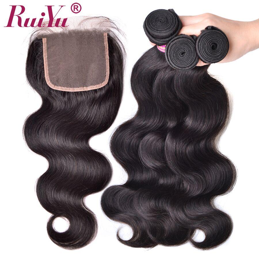 RUIYU волосы перуанский объемная волна Связки с закрытием 100% человеческих волос 3 Связки с кружевом застежка не Волосы remy ткань расширения