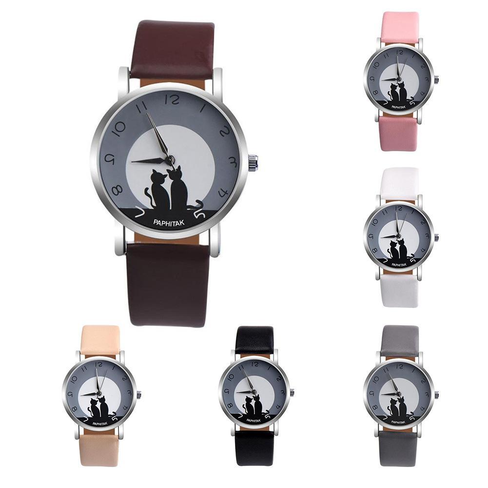 2018 New Men Women Relogios Lovely Cat Quartz Analog Arabic Numbers Party Date Couple Wrist Watch Reloj Bayan Saat HOT
