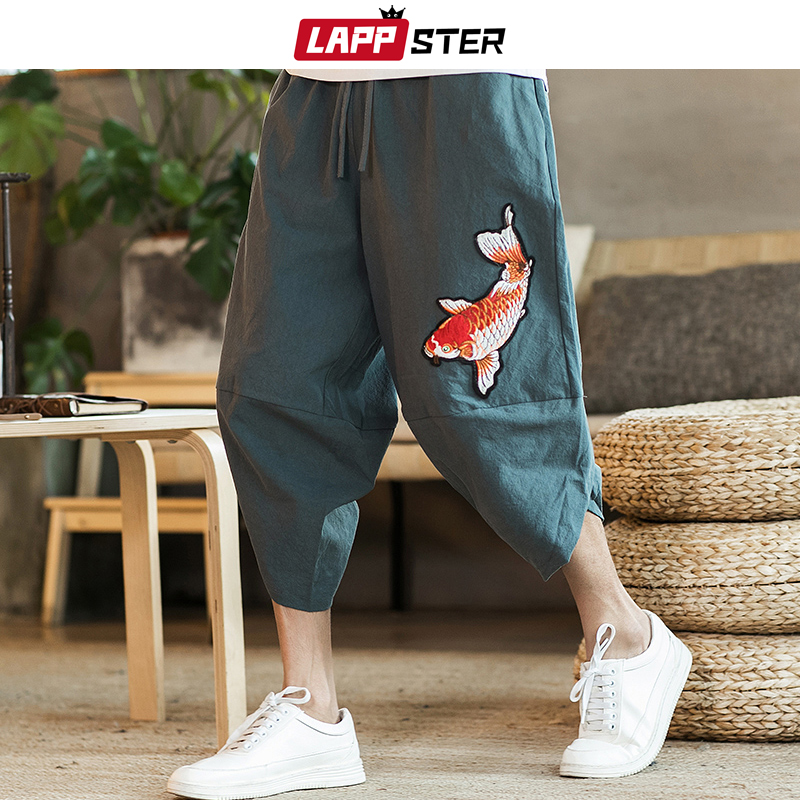 LAPPSTER Cotton Linen Harem Pants 2020 Summer Harajuku Track Pants Fish Embroidery Joggers Korean Fashion Casual Trousers 5XL