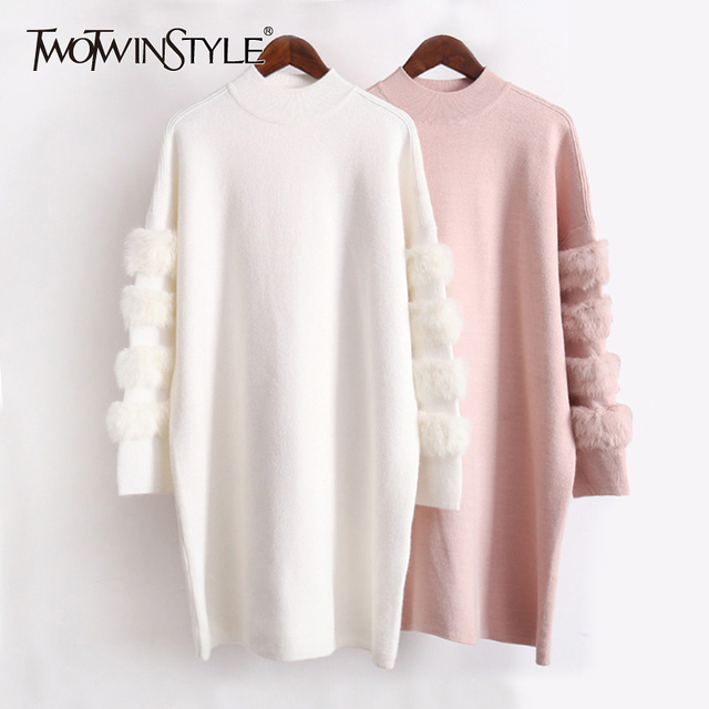 TWOTWINSTYLE Winter Knitted Pullovers Female Sweater For Women Top Long Sleeve Loose Big Size Thick Warm Sweaters Jumper Clothes