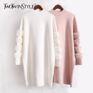 Image 1 - Twotwinstyle inverno pullovers de malha camisola feminina para as mulheres topo manga longa solta tamanho grande grosso quente camisolas jumper roupas