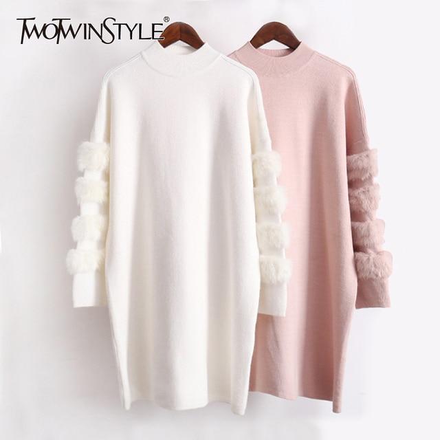 Twotwinstyle inverno pullovers de malha camisola feminina para as mulheres topo manga longa solta tamanho grande grosso quente camisolas jumper roupas
