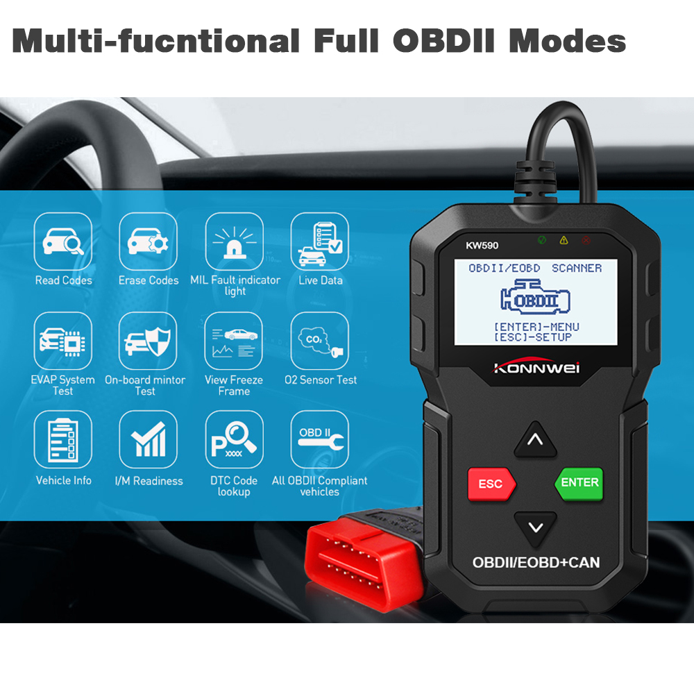 Image 3 - New KONNWEI KW590 OBD2 Code Reader Automotive Scanner Auto Repair Diagnostic Tool OBD II OBD 2 Scanner Better ELM327 in Russian