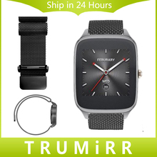 22mm loop band para asus zenwatch 2 milanese 22mm lg G Reloj W100/W110/W150 Pebble Tiempo de Reloj de Pulsera de Acero Inoxidable Enlace correa