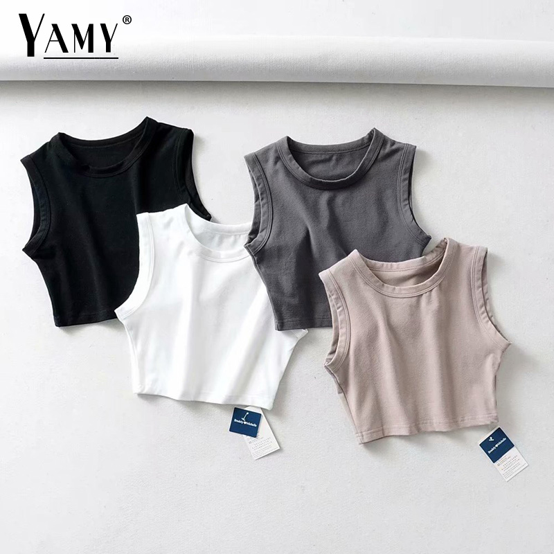 YAMY 2019 Summer Vintage White Crop Tops Women Biker Black Punk Sexy Tank Top Korean