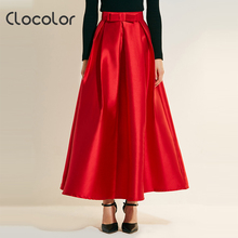 Clocolor Women Skirt 2017 New Autumn Solid Red High-Waist Bowknot Plain Ankle-Length Modern Fashion Female Girls Women Skirt(China)