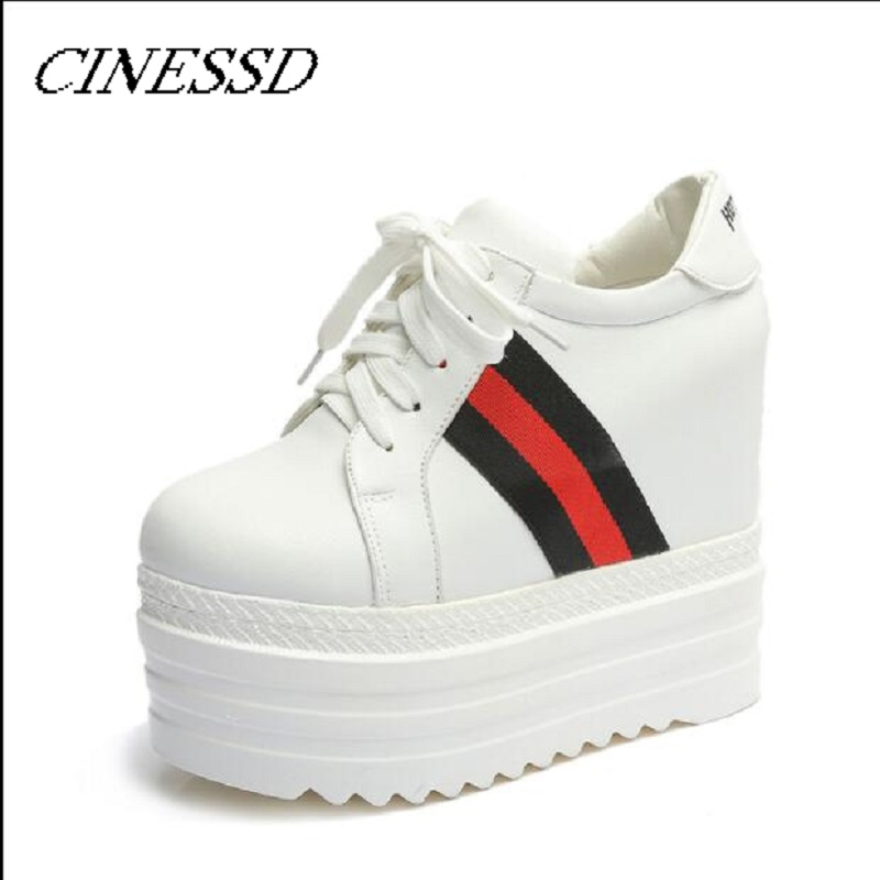 Spring 2019 New Type Muffin Shoes Slope Heels And Thick Bottom Heightening Women Waterproof Platform14 Cm Laces Super High Heels