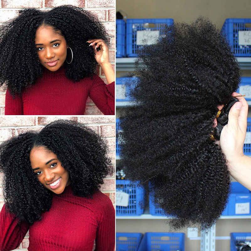 Mongolian Afro Kinky Curly Hair Weave Extensions 4B 4C 100% Natural Remy Human Hair Bundles 3 Pcs Dolago Hair Products