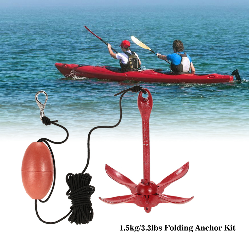 1 5kg 3 3lbs Kayak Inflatables Boat Folding Anchor Kit Set with Float Carry Bag Rope