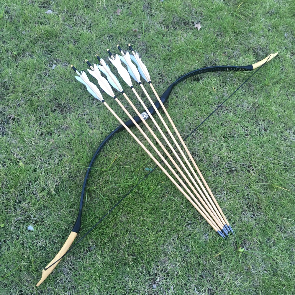 With 6 Arrows20-60lbs Traditional Archery Hunting Handmade Recurve Bow Mongolian Horse Longbow