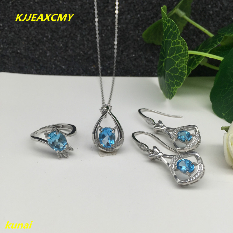 KJJEAXCMY boutique jewels 925 Sterling Silver with natural stone Blue Topaz Ring Pendant Earrings 3 suit send Necklace kjjeaxcmy boutique jewels 925 silver inlay natural pink topaz ring pendant earrings bracelet 4 suit jewelry necklace sen