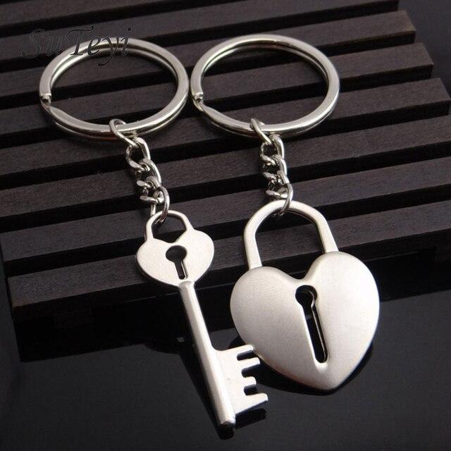 SUTEYI New Couple Keychain Lovers Heart Key Chain Ring Trinket Jewelry Heart loc