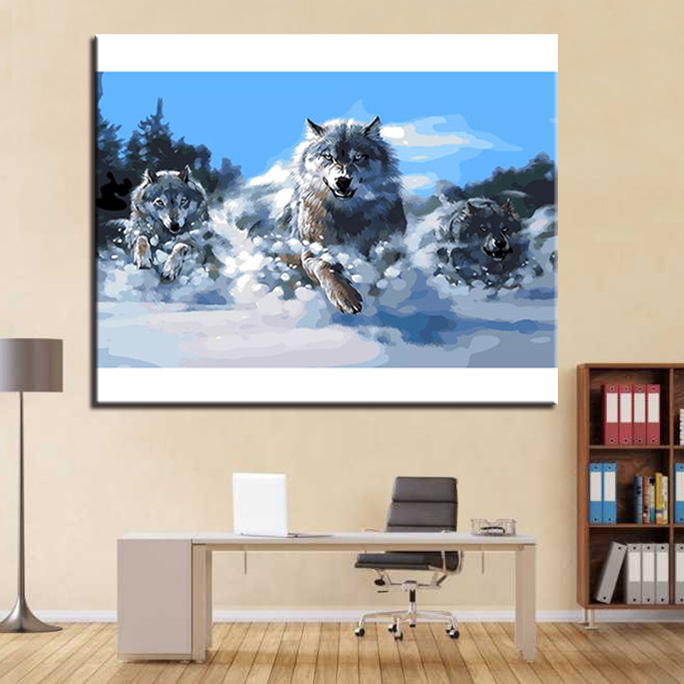 Framework Oil Painting By Numbers DIY Kits Drawing Snow Wolf Running ...