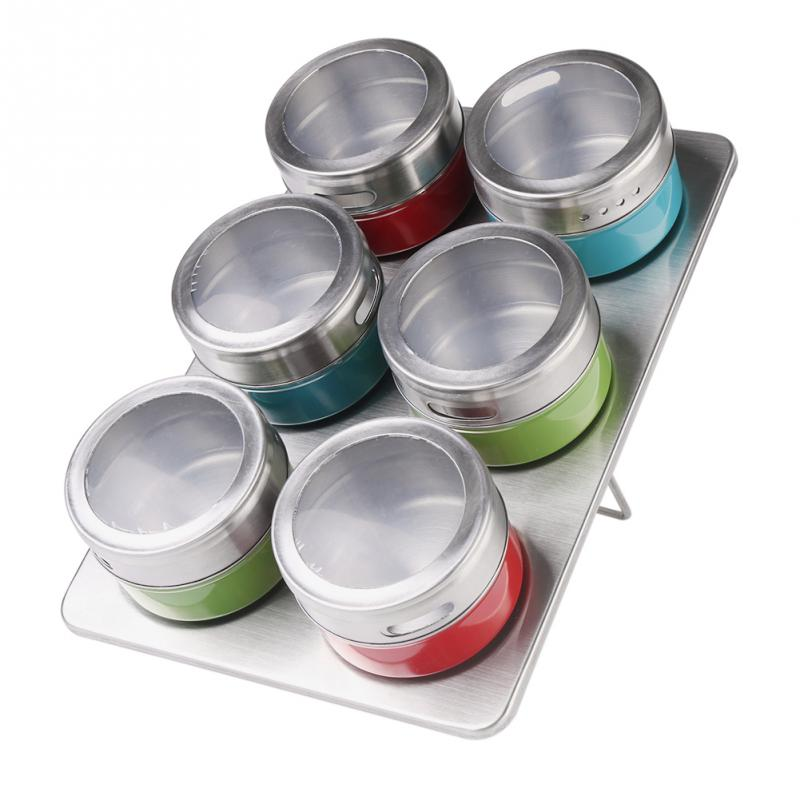 Online Shop 6pcs/set Magnetic Stainless Steel Spice Storage Rack/Seasoning Jars  Containers | Aliexpress Mobile
