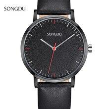 Часы Мужчины Роскошные SONGDU Часы мужская Мода Большой Циферблат Дизайнер Кварцевые Часы Мужчины Наручные Часы Relogio Masculino reloj hombre