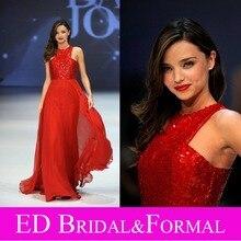 Miranda Kerr Red Pailletten Chiffon Prom Abendkleid Bodenlangen Promi Kleid vestido longo de festa