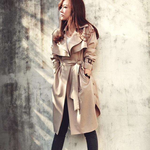 Plus Tamaño de Otoño Moda Mujeres Trench Coat 2016 Casual Largo Prendas de Vestir Exteriores Floja Señoras Cardigan Abrigos Con Cinturón de Ropa de Alta Calidad