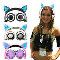 Foldable Flashing Glowing Cat Ear Headphones Gaming Headset Earphone With LED Light For PC Mobile