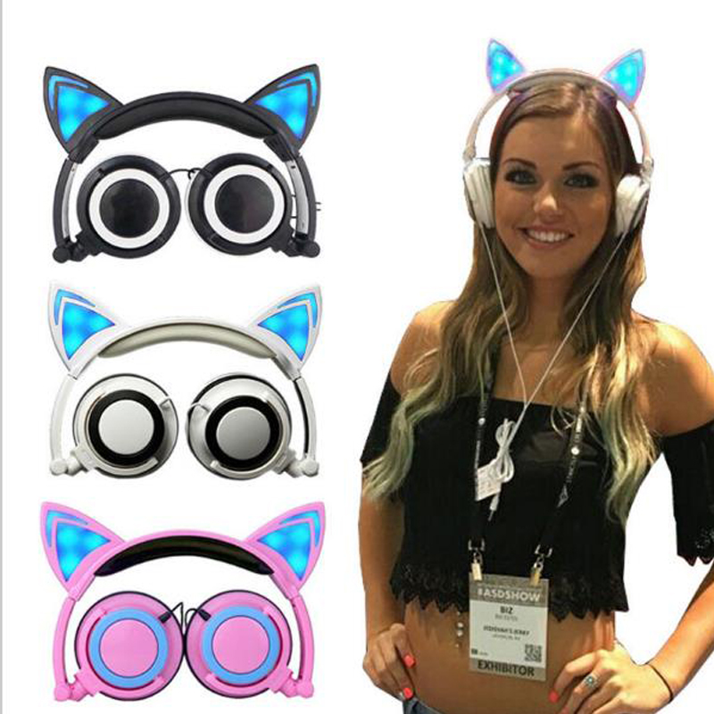 Foldable Flashing Glowing Cat Ear Children headphones Gaming Headset Earphone with LED light Wired Headphone for Phones fashion cat ear headphones led ear headphone cats earphone flashing glowing headset gaming earphones gifts for adult child girls