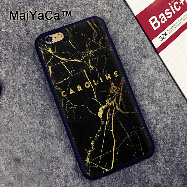 official photos 06776 83ce1 US $4.26 5% OFF|MaiYaCa Personalized Custom Name Gold Black Marble Printed  Phone Case For iPhone 6 6S Plus 7 8 Plus 5 5S 5C X Rubber Soft Cover-in ...