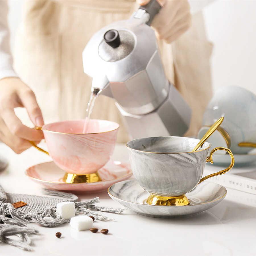 Conjunto Xícara de café de Cerâmica Xícaras de Café Expresso de Mármore Alta Xícara de Água Chá Kahve Fincan Takimlari Ambientalmente Amigável Casa 50T006