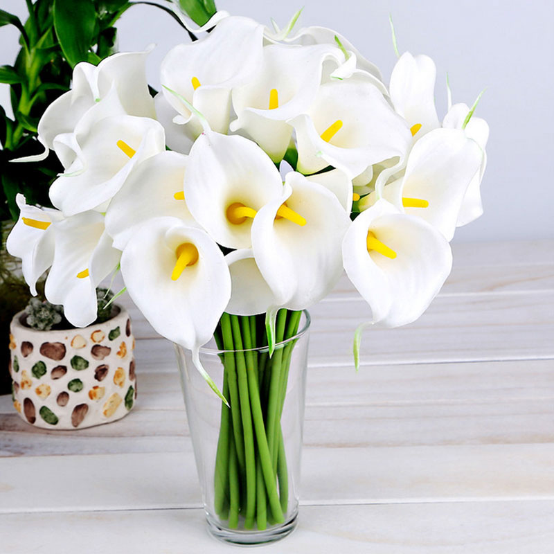 10pcs white artificial calla lily flower wedding bride for Artificial flowers for home decoration online