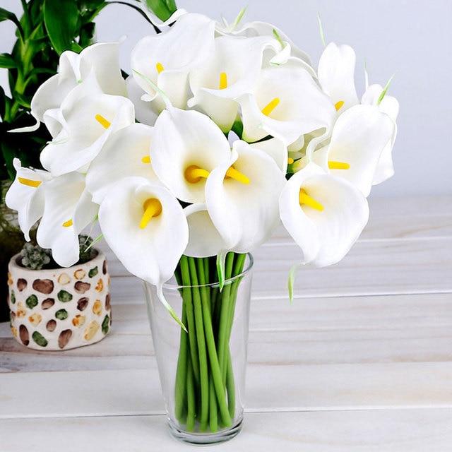 10pcs White Artificial Calla Lily Flower Wedding Bride Bouquet Decoration For Home Party Decor