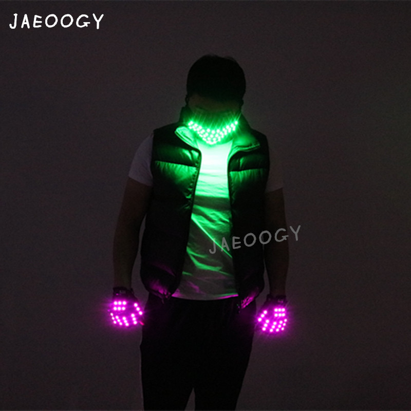 2019 New Creative purple LED gloves robot dance glow flashing fluorescent mask nightclub stage show laser show light props