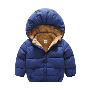 New style in winter 1-6 years Boys girls childrens clothes Baby add thick keep warm lambswool Cotton clothes Hooded jacket