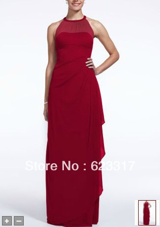 Long Mesh Dress With Illusion Neckline Style F15662 Bridesmaid Dresses