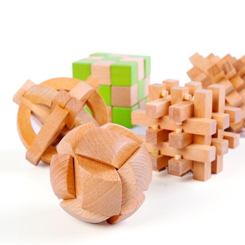 Kongming Luban Lock enfants en bois chinois traditionnel Puzzle jouet enfants cerveau Teaser jeux 3D intellectuel créatif débloquer jouet