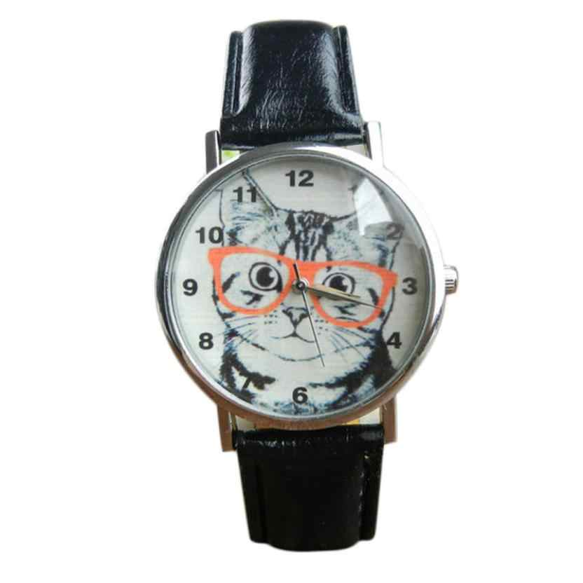 OTOKY Watches Woman Glasses Cat Pattern Leather Band Quartz Analog Vogue Wristwatch Relogio Feminino
