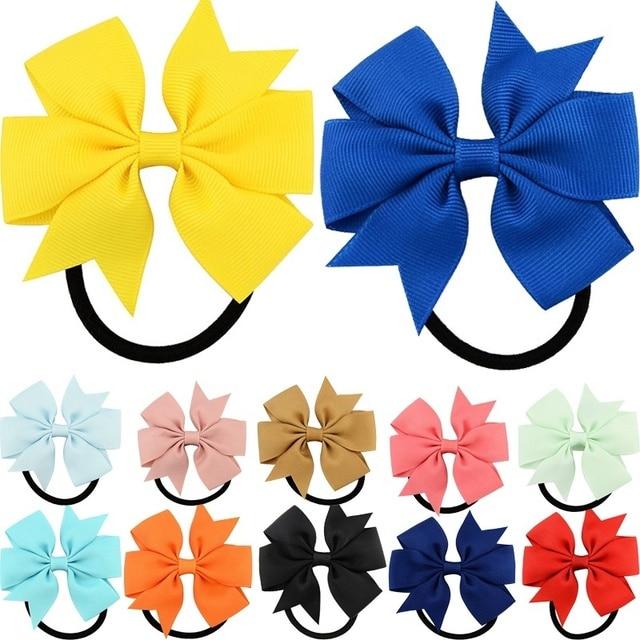 Sale Solid Ribbon Bows Hair rope Girls Bow Elastic kids Children Hair Tie Hair Band princess Hair Accessories