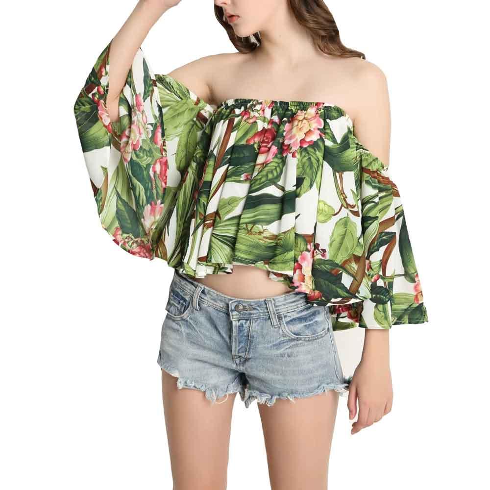 Sexy Off Shoulder Blouse Shirt Women Slash Neck Green Leaves Floral Print Shirts Loose Short Tops Female Blusas Summer Clothing
