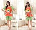 Calidad señora encantadora pijamas de algodón sección delgada de verano de dibujos animados mujeres trajes de verano de manga corta chándal
