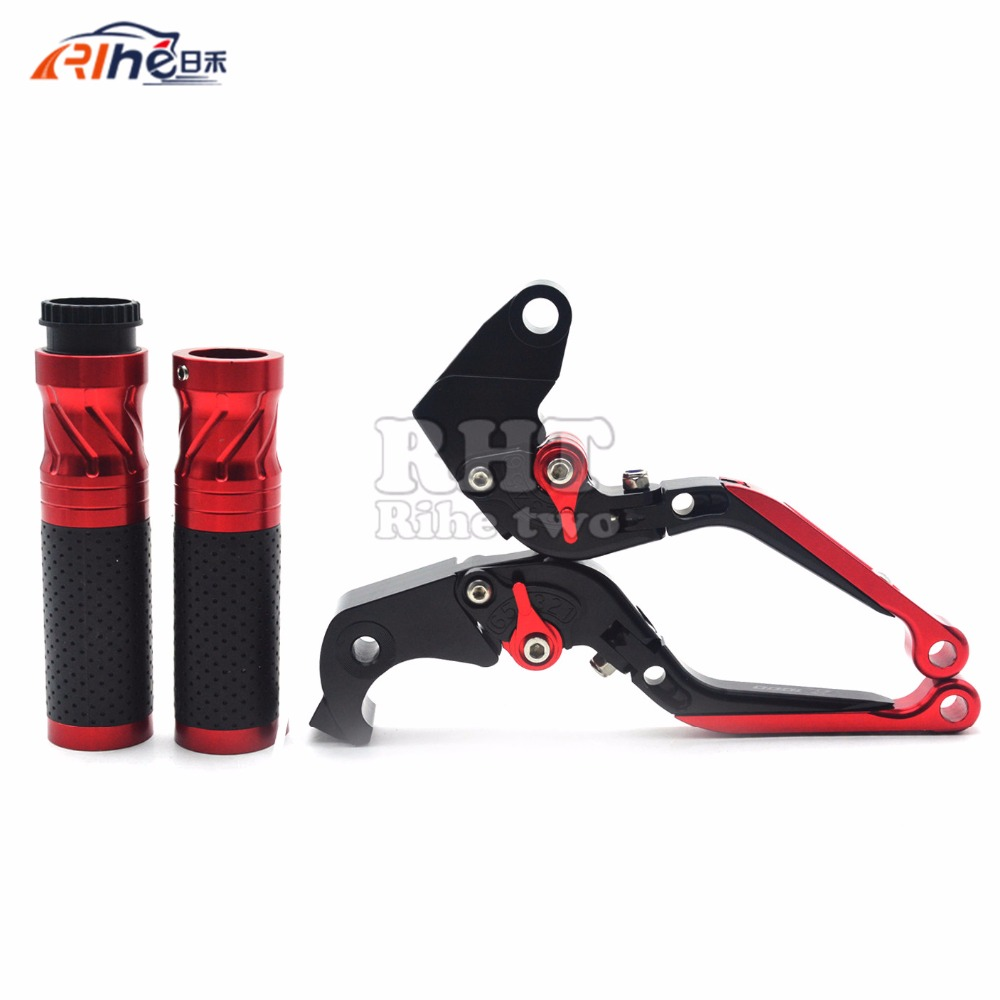 With Z1000 logo Motorcycle Folding & Adjustable Brake Clutch Levers and Handle Grips For Kawasaki Z1000 2003 2004 2005 2006