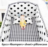 Discount! 6pcs dot Baby Bedding Sets,Infant Bedding Set Baby Crib Sheets,Free Shipping ,include(4bumper+sheet+pillowcase)