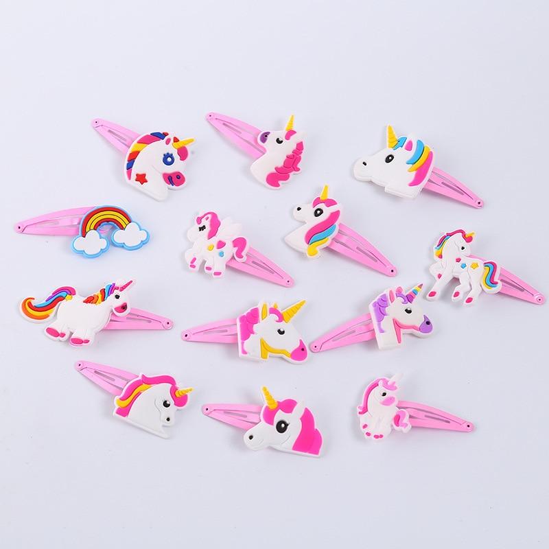 10PCS Unicorn Panda Mermaid Alpaca Bow Tie Wave Point PVC Cartoon Hairpins Girls Hair Accessories Barrette Hair Clips Hairwear