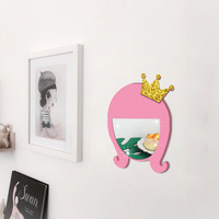Funlife 5 sets of new children's room pink girl wall hanging mirror acrylic mirror manufacturers wholesale glass paste HM013