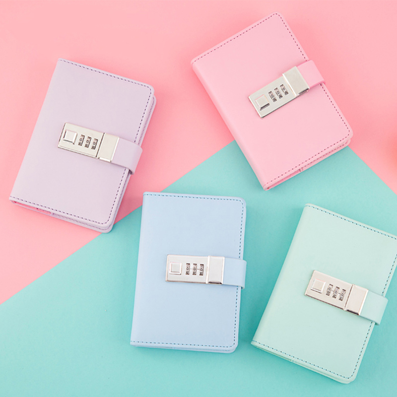 Small fresh A7 notebook with lock password student pocket diary lockable writing pads school office supplies loose leaf binder a6 loose leaf binder notebook leather business lockable writing pads office school supplies logo name customized diary gift