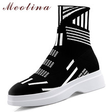 Meotina Women Boots Autumn Ankle Boots Knitting Mixed Colors Flat Platform Sock Boots Slim Stretch Round Toe Shoes Lady Size 43 все цены